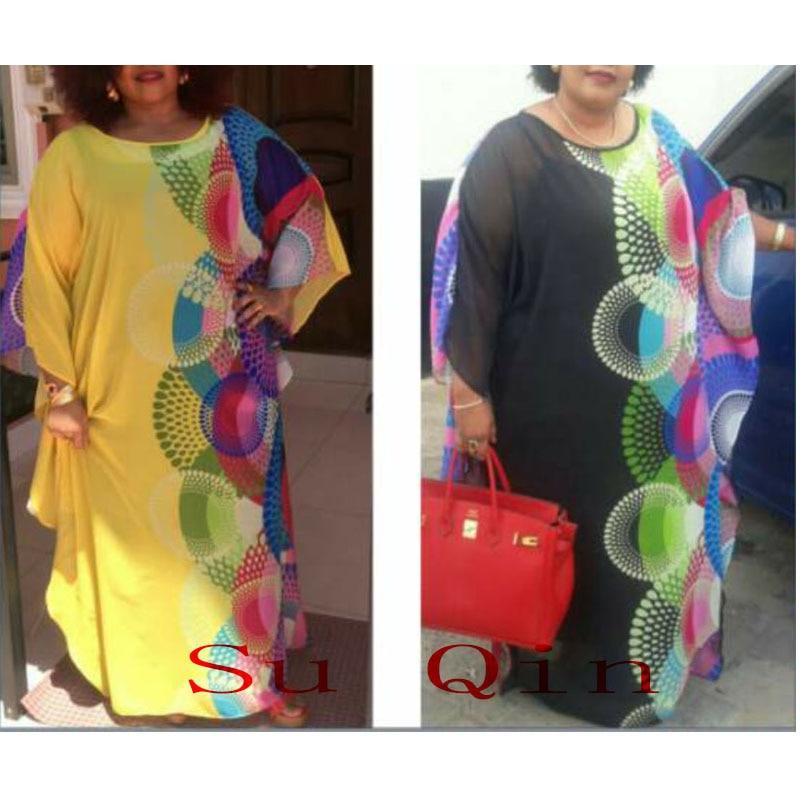 New Fashion Chiffon Super Size African Loose Long Dashiki Traditional Dress For Lady(XF02)
