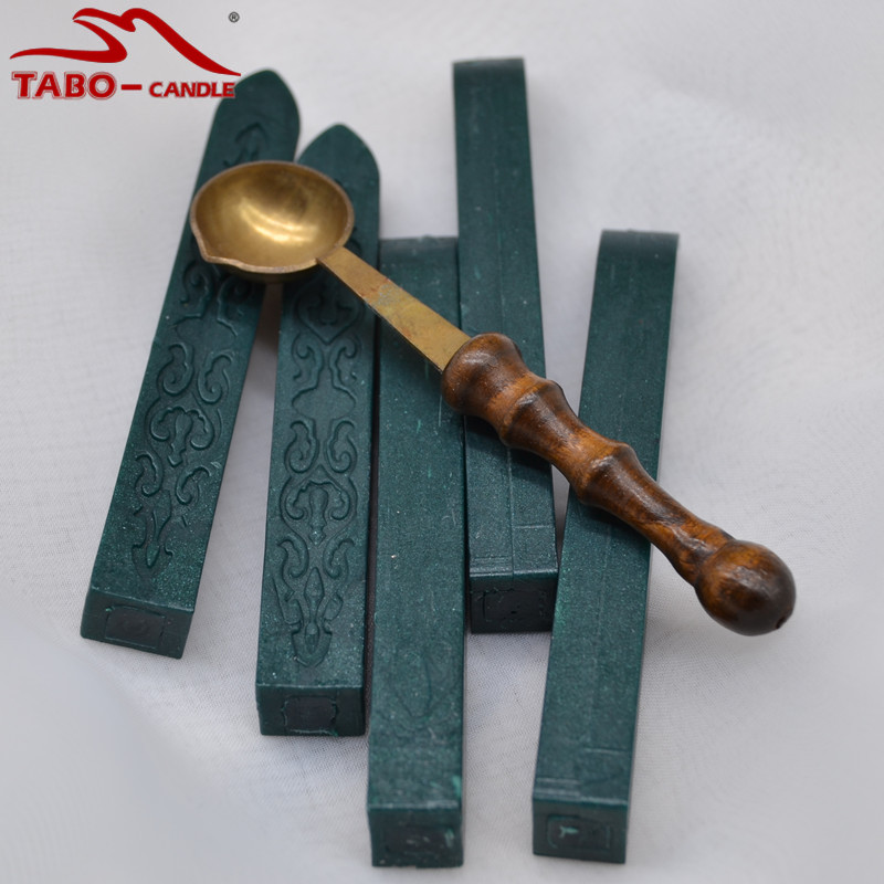 Dark Green Wax Seal Stick and 1 Spoon Set Vintage Wooden Handle Melting Wax Spoon Sealing Wax Stamp Stick for Envelope Letter big copper spoon big large size stamp spoon vintage wooden handle brass spoon for sealing wax stamp wax stick spoon