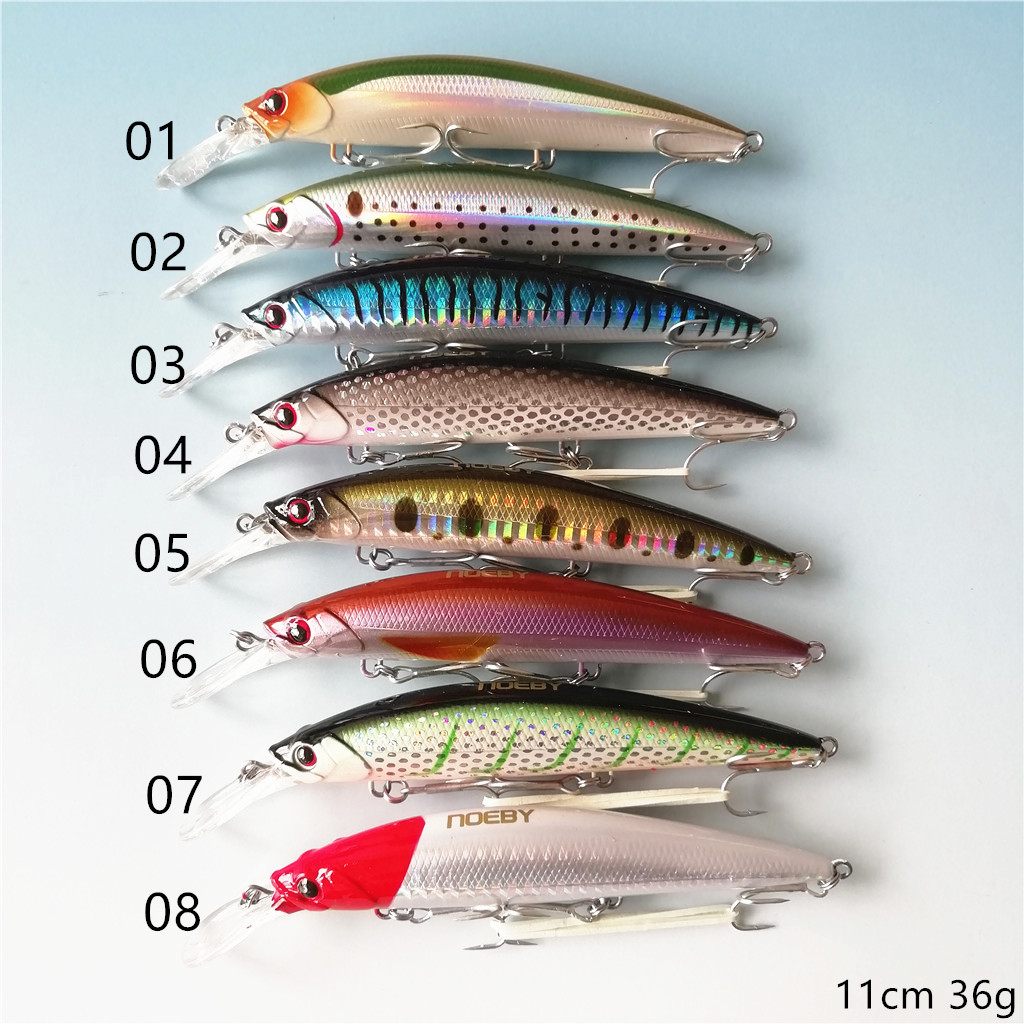 Noeby 2019 8pcs sinking minnow fishing lures 110mm 36g new lure crank bait bass fishing lure wobblers