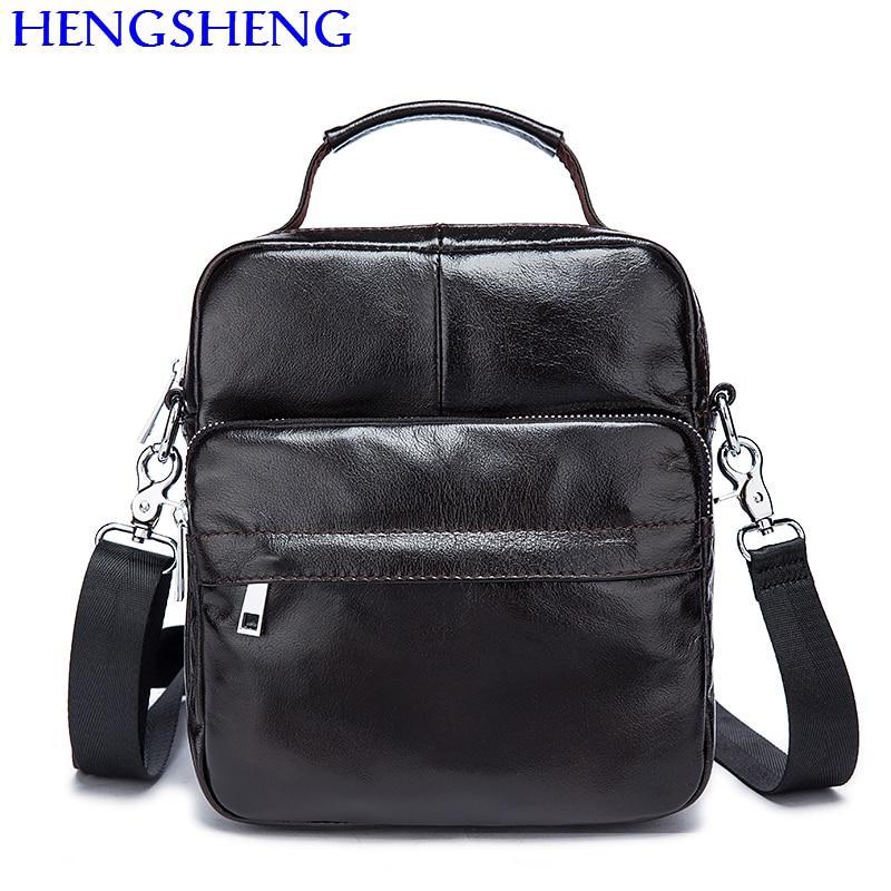Hengsheng promotion cow font b leather b font black men shoulder bags with hot sale genuine