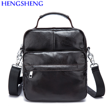 Hengsheng promotion cow leather black men shoulder bags with hot sale genuine leather male messenger bags