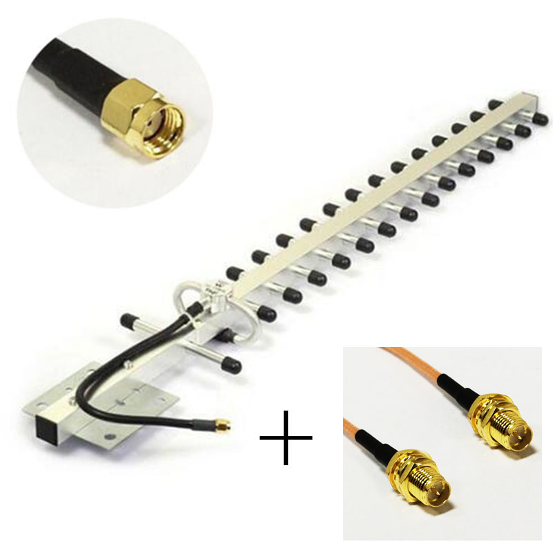 3G yagi antenna 25dBi 1880-1920/1990-2170MHZ RP SMA connector outdoor+ RP SMA Female Connector to RP SMA Female RG316 Cable 15CM jx sma female to 2 x crc9 or ts9 connector splitter combiner y type cable pigtail 15cm for huawei zte 3g 4g modem antenna