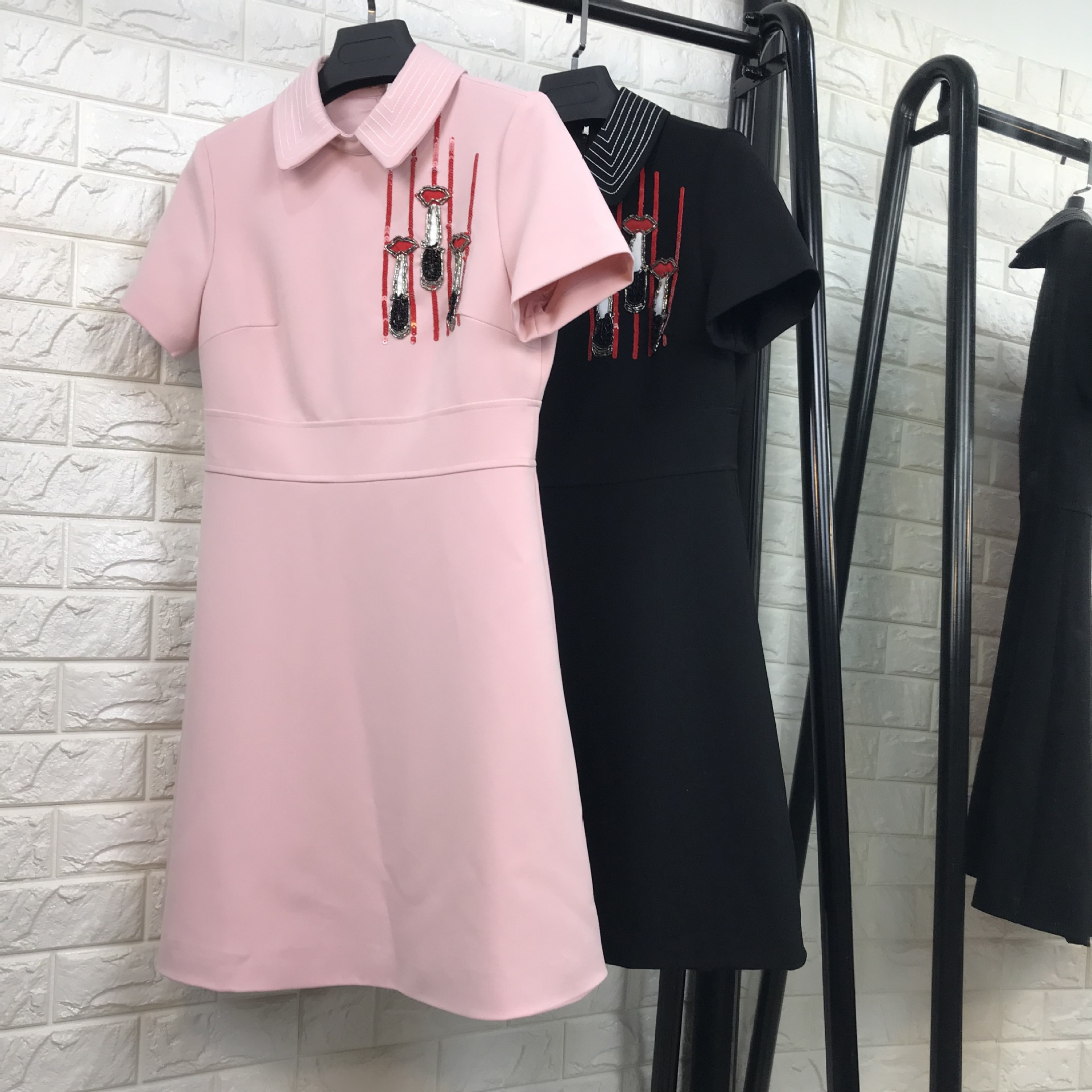 New 2018 spring summer fashion women preppy style cute peter pan collar  dress short sleeve sequined a-line dresses pink black bde6e88e43ae