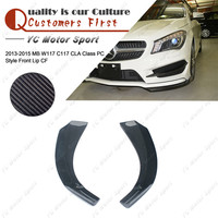 Car Accessories Carbon Fiber PC Style Front Lip 2pcs Fit For 2013 2014 MB W117 C117 CLA Class Front Bumper Splitter Lip
