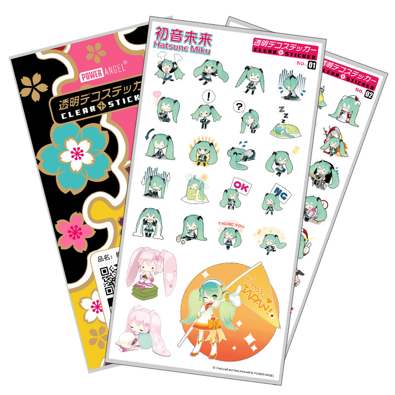 PowerAngel Plastic Stickers Hatsune Miku Cartoon Anime DIY Props Phone Laptop Book Art Decal Sticker Gift
