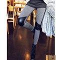 Moda Nova calça legging da feminino curva elásticas apertadas obra feita de remendos de couro falso