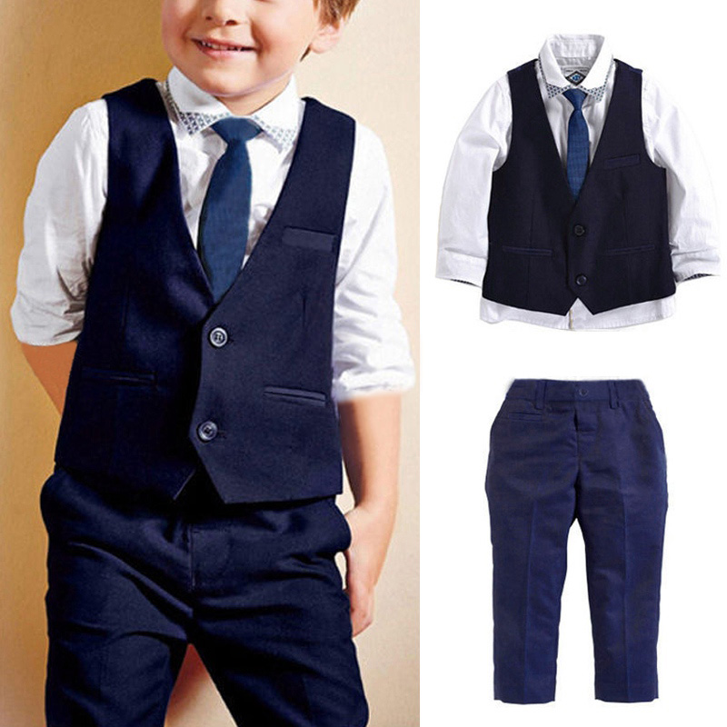 Autumn Winter Baby Boys Clothing Sets Formal Clothes Suits Children Vest +Shirt+Tie+Pants Kids Baby Suit Wedding Costume autumn winter boys clothing sets kids jacket pants children sport suits boys clothes set kid sport suit toddler boy clothes