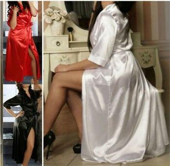 Women Silk Robe 2019 New Ladies Sexy Long Soild