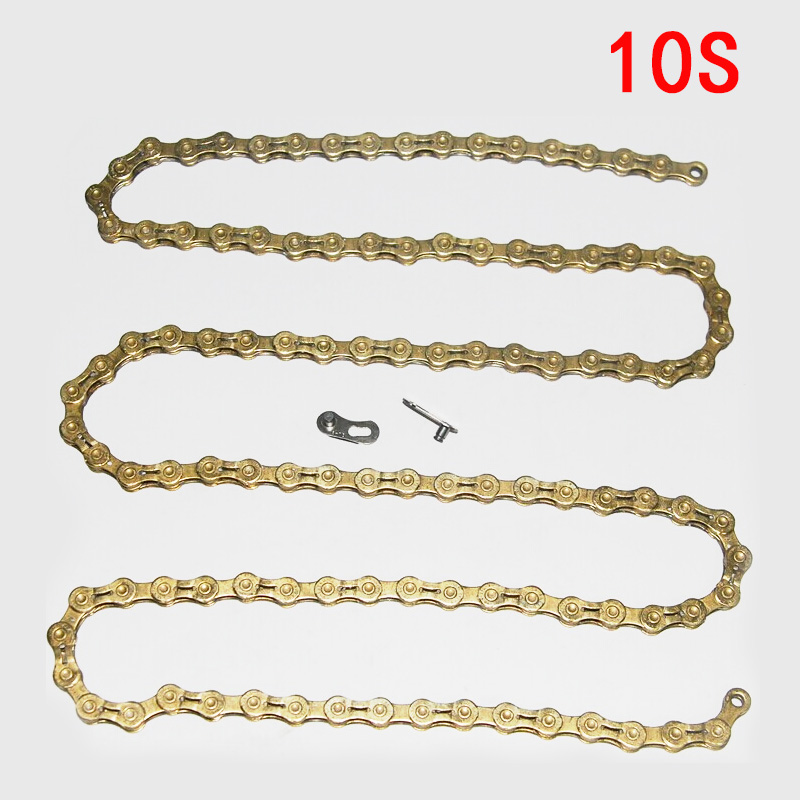 MTB Bicycle Cycling 10 speed Chain Mountain Bike Gold Half Hollow 10 speed Chain Bicycle High Strength 10S Chain Send Magic Buck top high speed half teeth piston