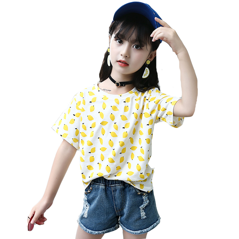 Girls Tees Short Sleeve Lemon Print T-shirts For Girls Clothing Cotton Children Tops Summer 2018 Kids Tops 4 6 7 8 9 10 12 Years