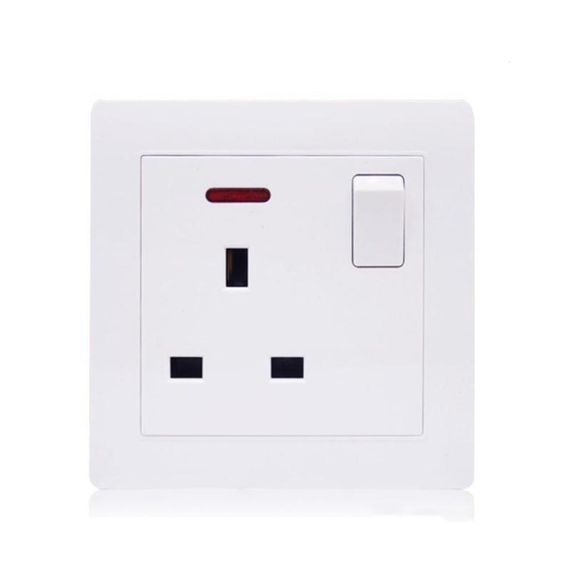UK Standard AC 100-250V 16A Power Socket Switch White Crystal Toughened Glass Panel Power Socket Wall Socket Switch suck uk
