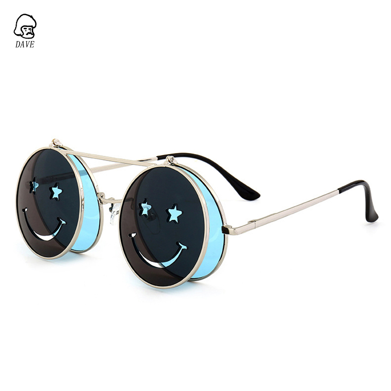 7007eea590 Aliexpress.com   Buy DAVE Steampunk Round Sunglasses Women Vintage Flip  Smiling face Punk Metal Frame Red Yellow Green Lens Sun Glasses Female  UV400 from ...