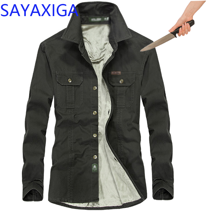 Self Defense Tactical SWAT Gear Anti Cut Knife Cut Resistant Shirt Anti Stab Proof Long Sleeve Velvet Men Shirt Security Clothes