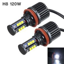 2pcs 120W H8 LED Angel Eyes Car LED Halo Ring Marker Bulbs Light 6500K-7500K White Error Free Fit for BMW Cars Vehicle Auto