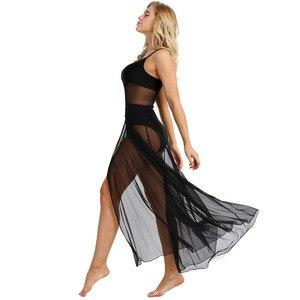 Image 4 - IEFiEL Женская одежда для взрослых на тонких бретельках, сетчатая макси Одежда для танцев со встроенной гимнастикой трико балерины, платья для бальных танцев