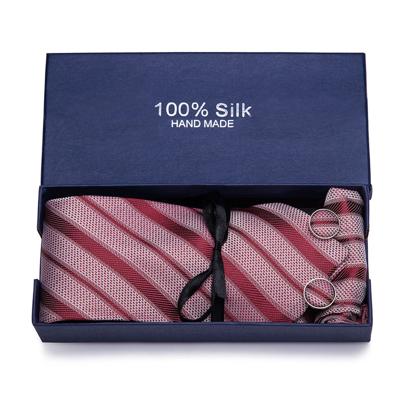Gift Box  45styles Tie Set Hanky Cufflinks With Jacquard Woven Neckties For Men Shirt Accessories Wedding Party