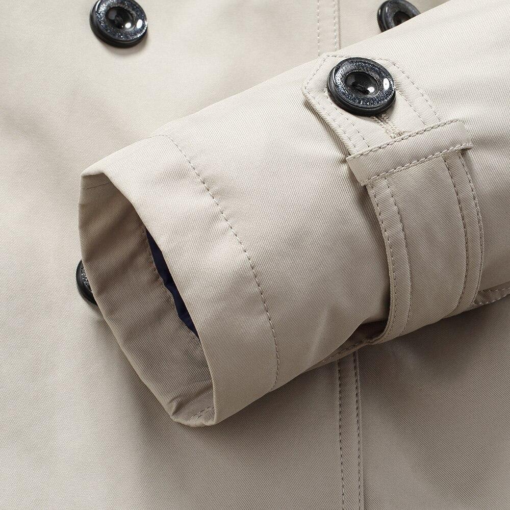 TAIZIQI Longue tranchée manteau hommes épaissir outwear hommes longs manteaux coupe vent décontracté veste manteau chaud pour hommes - 6