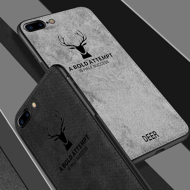 Case For iPhone Deer Cloth Texture Soft Back Cover 4