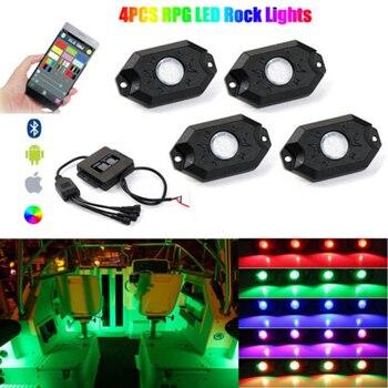 Mini Wireless 4.0 Bluetooth Music RGB LED Glow Rock Lights IP68 Waterproof Boat Marine Deck Interior RGB Changing Accent Pod Kit