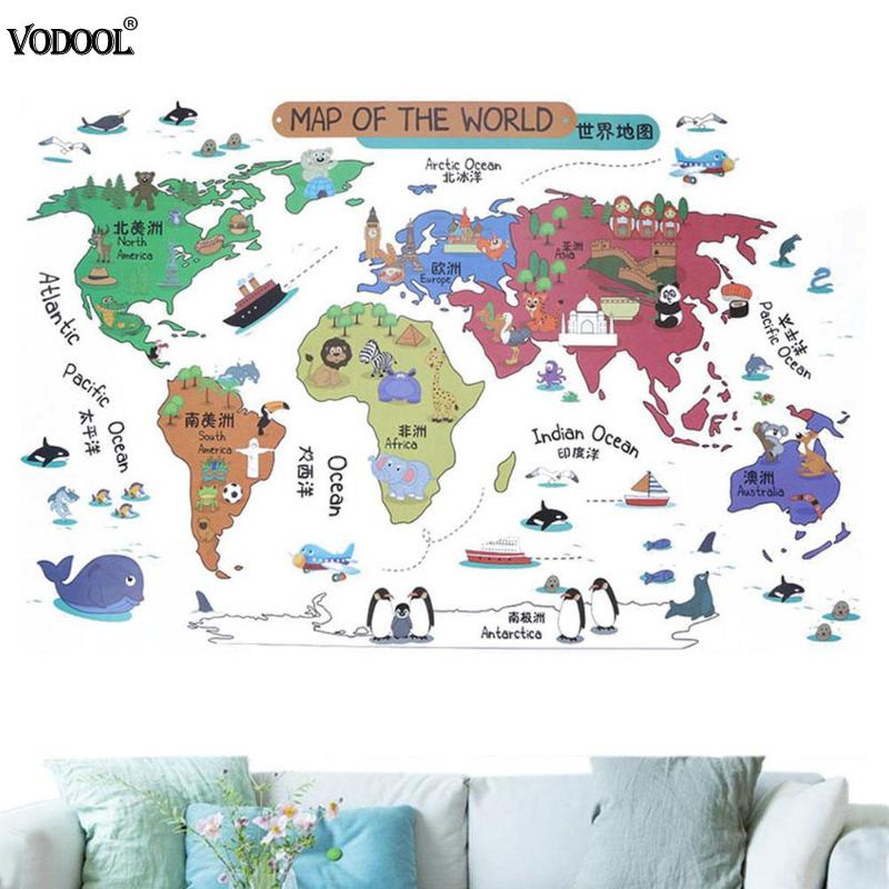 Cartoon Animals Pvc World Map Stickers Poster For Kids Room