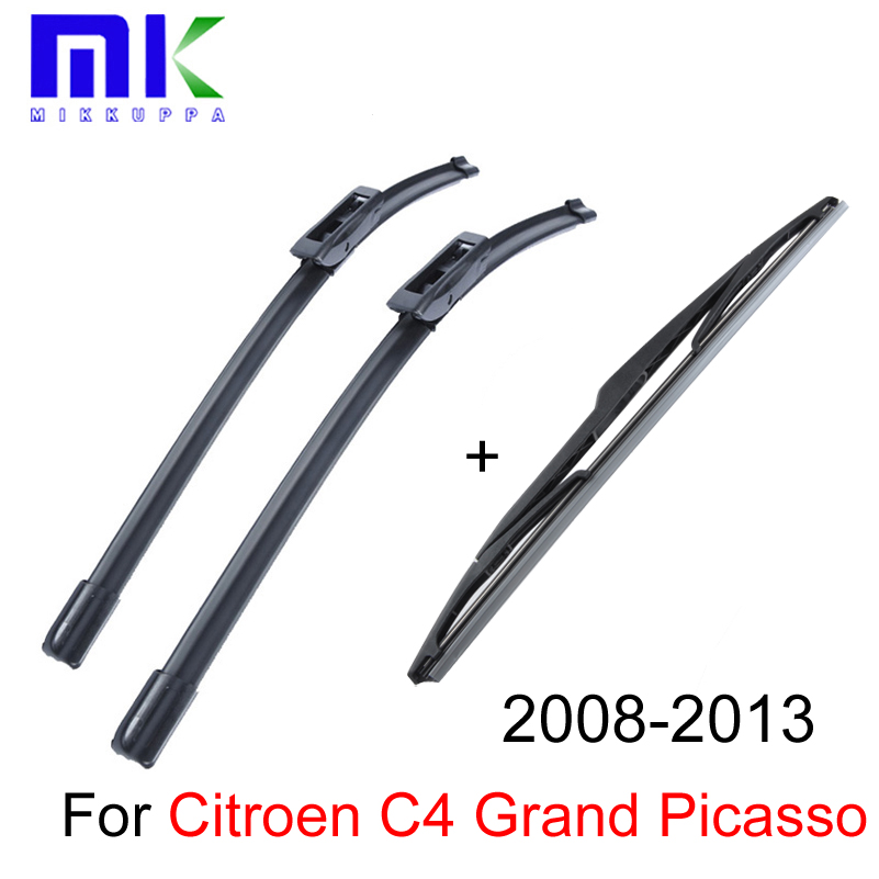 Front & Rear Wiper Blades For Citroen C4 Grand Picasso 2008 2009 2010 2011 2012 2013 Windshield Windscreen Wiper Car Accessories sumks wiper blades for honda insight 26