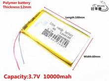 Bom qulity 3.7 v, 10000 mah 1260100 bateria do íon do lítio do polímero/li-íon para o banco do pc da tabuleta, gps, mp3, mp4