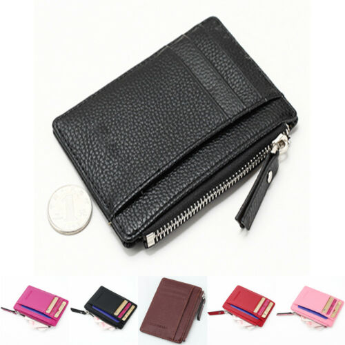 Women&Men Small Leather Coin Purse Square Casual  Zip Solid Coin Purse