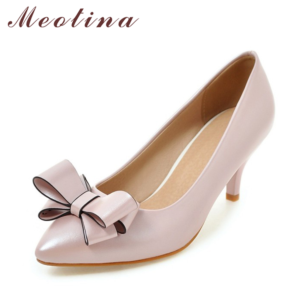 Meotina Women Pumps Women Dress Shoes Plus Size 33-43 Ladies Party Shoes New Autumn Bow Ladies Pumps Casual Pink Chaussure Femme 2016 red womens pumps chaussure femme cheap shoes for women real image fashion custom made ladies party evening shoes hot