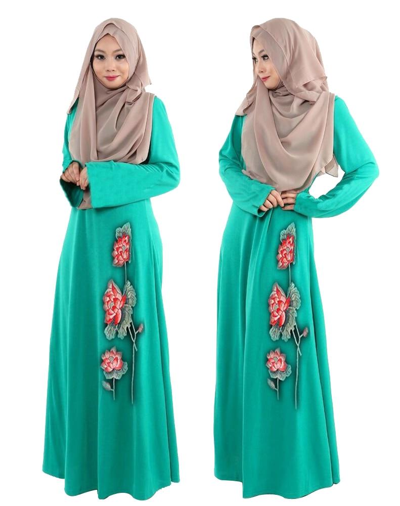 Μόδα κέντημα Kaftan vintage Ισλαμική Jilbab Maxi Μουσουλμανική γυναίκες φούστα φόρεμα εθνικές ενδυμασίες Μέση Ανατολή Ντουμπάι ρόμπα νέο