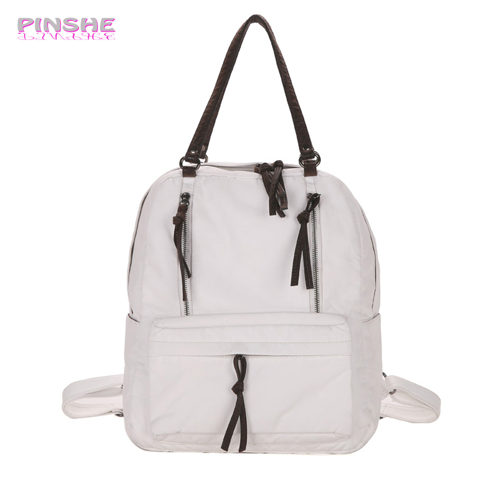 PINSHE Fashion Preppy Style Backpack Shoulder Student Bag Hit Color School Bags Women White Leather Backpacks For Teenage Girls