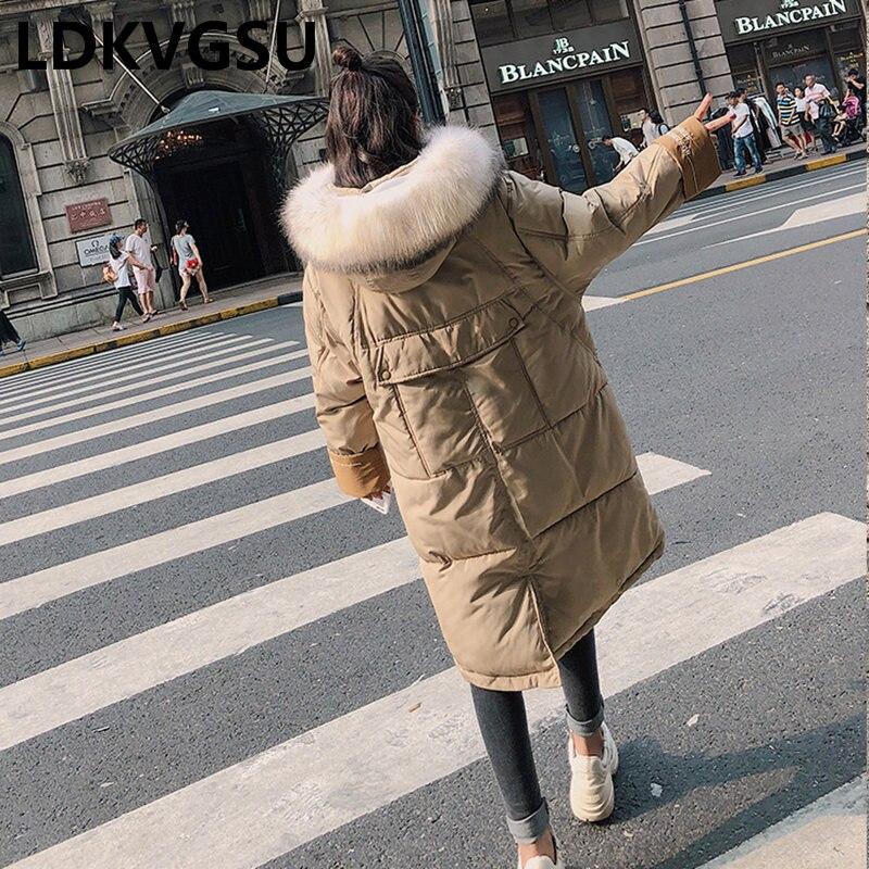 2018 Longue Coton Solide Hiver Femelle caramel À Vêtements Pain Femmes Couleur Rue Black Nouvelle Parkas Taille Is1427 Veste Capuche khaki Grande Ouatée Lâche 47tqrwY4