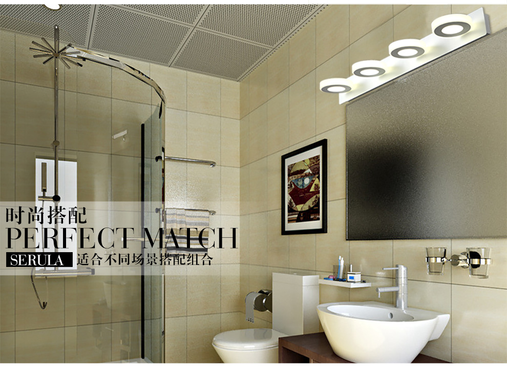 Round Four module 20W Length 60cm LED mirror lamp Europe Simplicity modern bedside wall bathroom Sconce lighting AC90-260V modern lamp trophy wall lamp wall lamp bed lighting bedside wall lamp