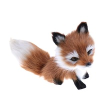 1Pcs Small Simulation Fox Toy Mini Squatting Model Home Decoration Wedding Birthday Gift Stuffed Plush Toys