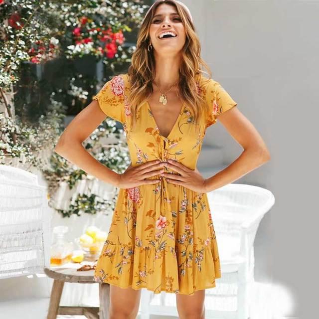 b8a25b41d Boho algodón bohemio vestido estampado floral de las mujeres vestido mini  vestido de manga corta con