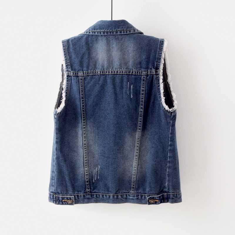 Однобортный джинсовый женский короткий жилет куртка тонкая верхняя одежда без рукавов винтажный Повседневный джинсовый жилет крутые пальто плюс размер 5XL