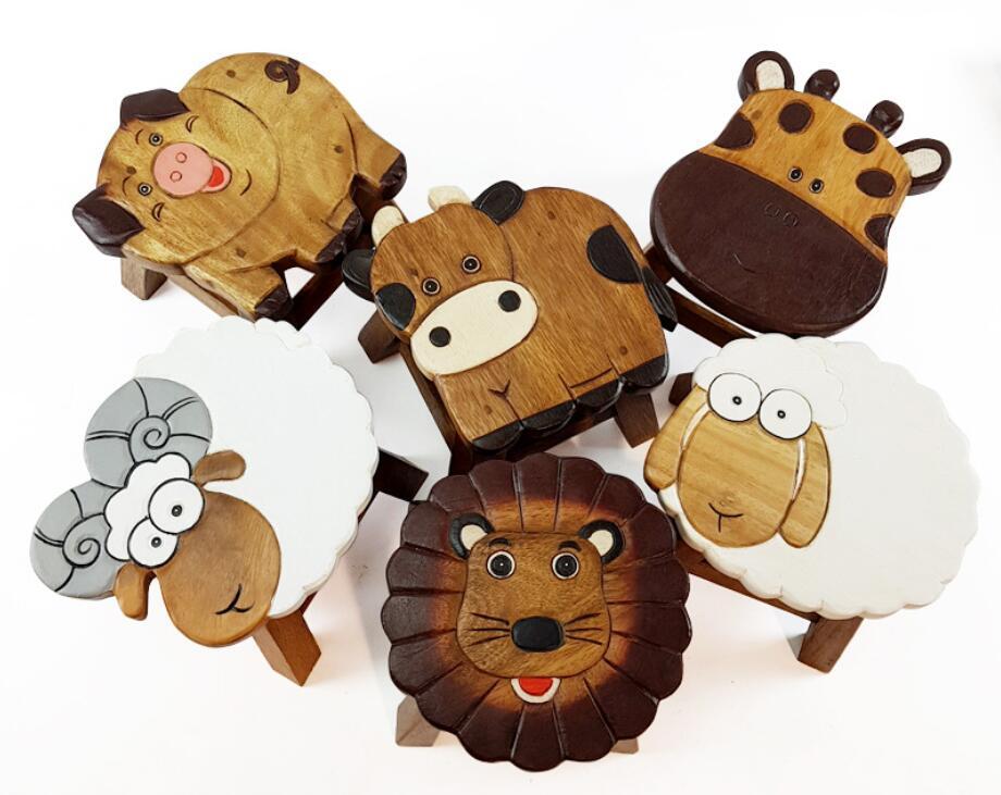 Tabouret enfant bois massif dessin animé petit banc enfant tabourets maternelle
