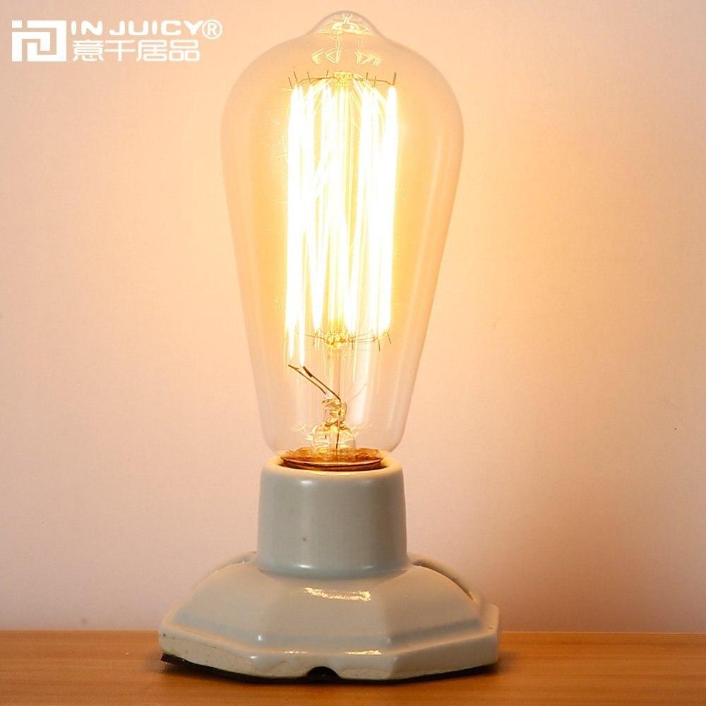 Лофт Винтаж Ретро промышленная керамика edison регистрации акцент Лампы для мотоциклов под старину E27 светодиодные настольные лампы ночники д...