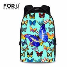 Forudesigns/Синий Довольно Бабочка Рюкзак для подростка Обувь для девочек красивый цветок Стиль Для женщин backbag большой Размеры Колледж сумка