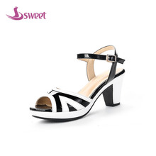 Brand womens shoes woman sandals Ankle-Wrap Microfiber Buckle Striped Front & Rear Strap Spike Heels Totem Novelty PartyB72