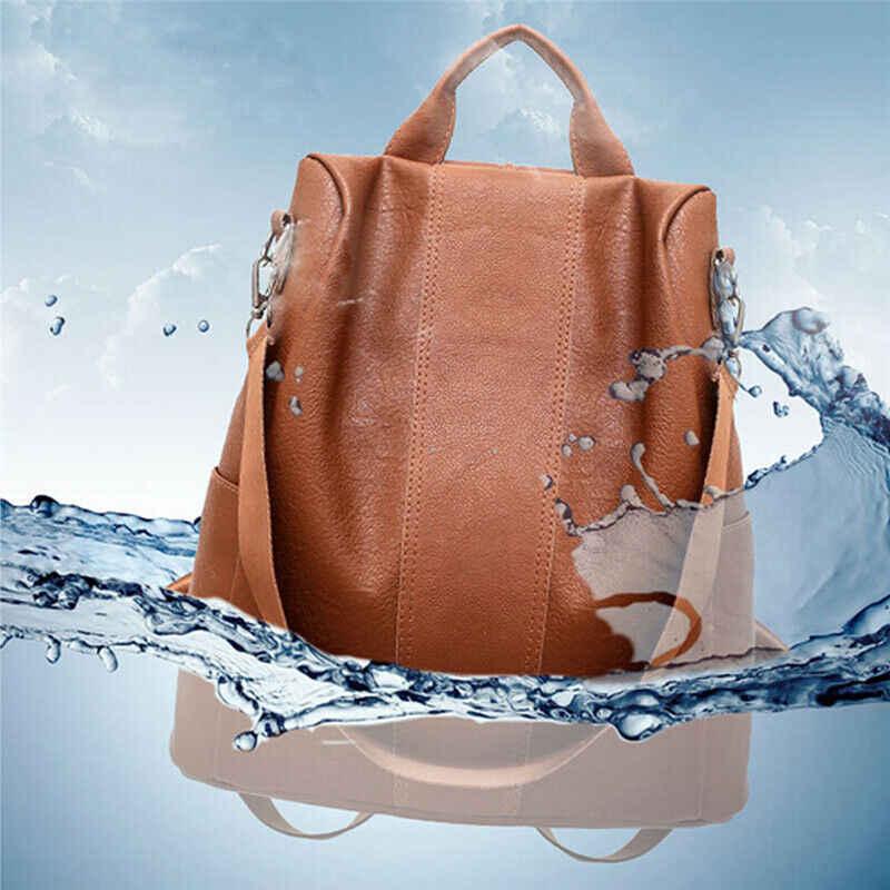 Женский рюкзак с защитой от краж с Классический Искусственная кожа рюкзак однотонный Канта, модная сумка через плечо
