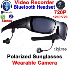 Cool Smart Polarized Sunglasses Bluetooth Headset with Microphone Glasses Camera HD 720P Digital Video Recorder OTG Mini DV DVR hd 720p wireless bluetooth mini camera glasses smart sunglasses mini camcorders glasses sports dv with headset to calls music