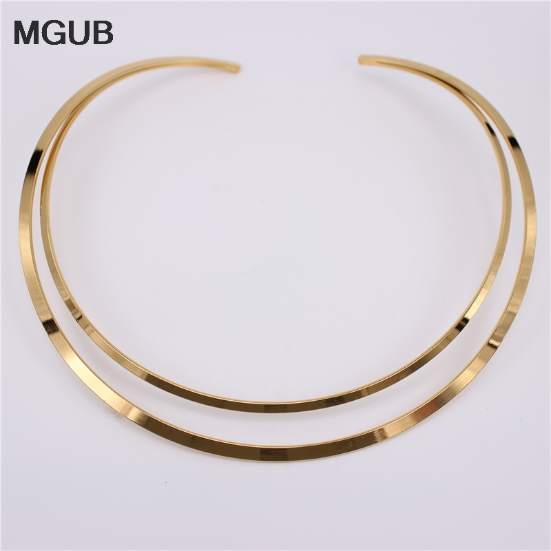 MGUB 2018 New Design 316L Stainless Steel Jewelry Two Colors Collar Adjustable  Necklace For Women Wear Wholesale LH555