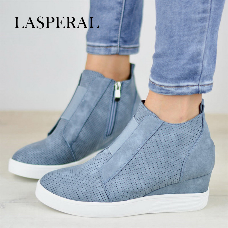 LASPERAL 2019 Sneakers Platform Woman 2018 Autumn High Top Female Casual Shoes Wedge Side Zipper
