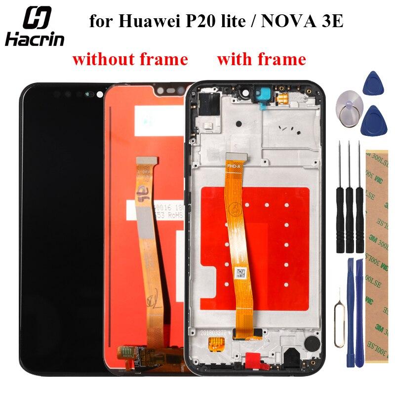 Huawei p20 lite display lcd de tela toque com quadro digitador assembléia substituição para huawei nova 3e tela lcd ANE-LX1 ANE-LX3