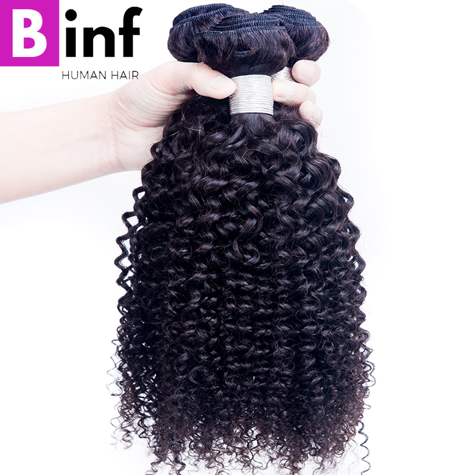 BINF Hair 3PCS Peruvian Kinky Curly Hair Extensions 100% Human Hair Weave Bundles Natural Color 8-28 Mixed Inch Remy Hair