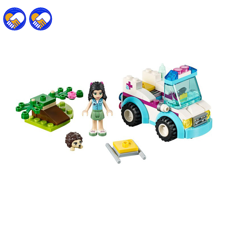 A toy A dream BELA 10534 Friends Series Vet Ambulance Building Blocks Classic For Girl Kids Model Toys Marvel Legoingly a toy a dream 2017 new free shipping decool 3331 large 805pcs exploiture crane model enlighten plastic building blocks sets