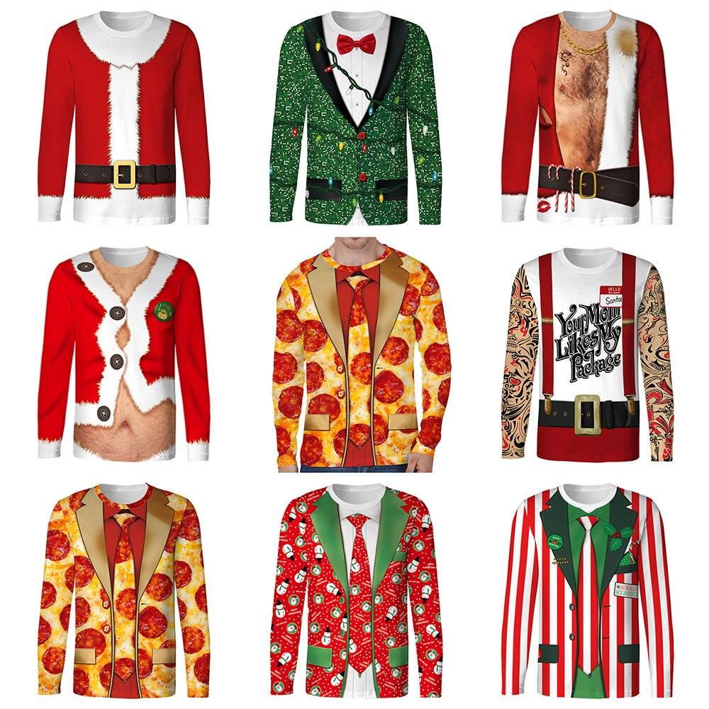 2018 Autumn Funny Cosplay Pizza Christmas Santa Claus Prints Fitness Workout Long Sleeve Man T shirt Women Men T Shirt Tops Tees