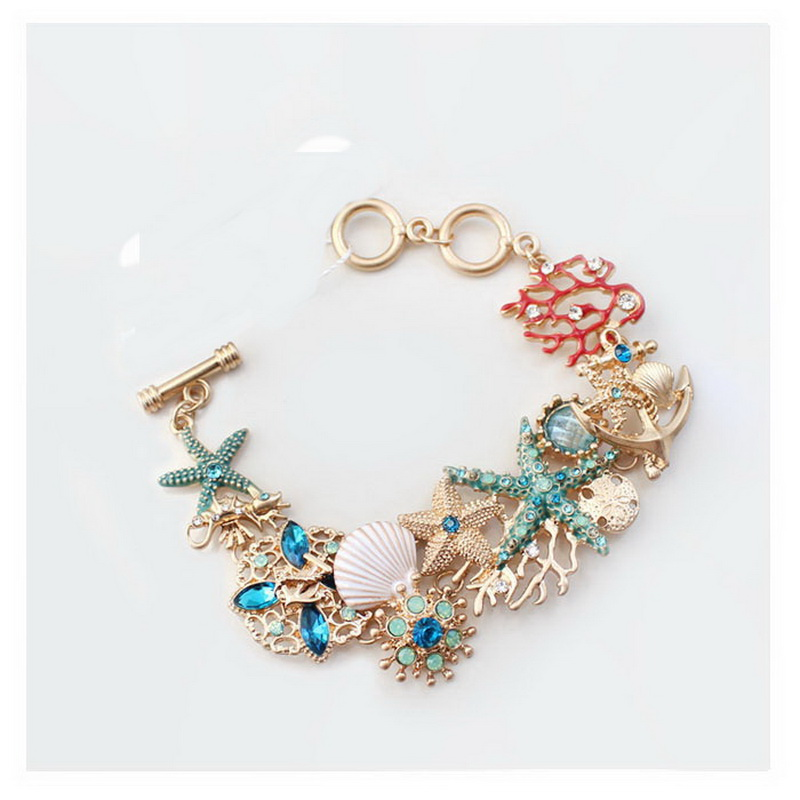 Lateefah Ocean Elements Bracelet Marine Starfish Seahorse Shell Coral Charms Bracelet Colorful Marine Fancy Dressing Jewelry