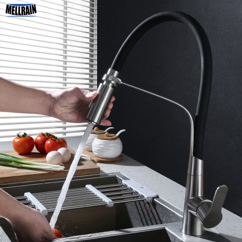 Stainless Steel Black Hose Kitchen Faucet Double Functions Sprayer Pull Out Kitchen Water Mixer Brushed Tap