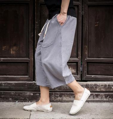 Men Harem Pants Linen Cotton Trousers Wide Leg Cropped Casual Drawstring M-4XL